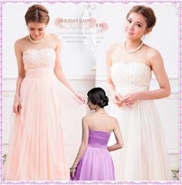 キュートな立体花飾り花嫁ドレス、ロングドレス、お姫様ドレスパーティードレス結婚式イベントドレス発表会ステージドレス