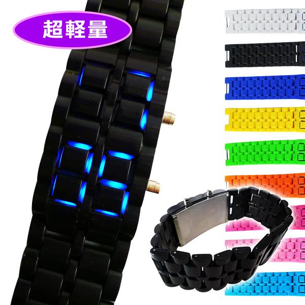 Qoo10【送料無料】■カラフルLEDブレスウォッチ ブルーLED■腕時計/カラフル時計/バングル/おしゃれ/メン