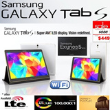 """Samsung Galaxy Tab S (8.4) / 1.3GHz Exynos 5 Octa-Core Processor / 3GB Ram / 16GB eMMC / 8.4"""" (WQXGA) Super AMOLED Screen / Android 4.4 KitKat / Local Samsung Warranty / Limited Sets Leave Only"""