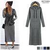 ★Hood★  Long dress / dress brushed / hooded dress / maxi dress / high stretch/Autumn dress / thicker fabric