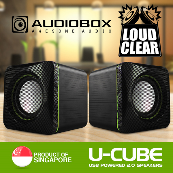 [AUDIOBOX] U-CUBE Popular Choice USB Powered 2.0 Speakers. Loud and Clear Audio. Beautiful Protective Mesh, High Portability. 12 Months Local Warranty! Deals for only S$14.9 instead of S$0