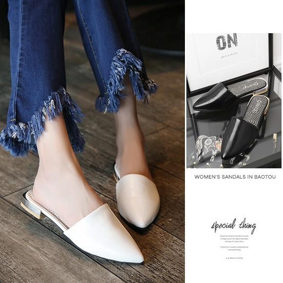 レディース サンダル ミュール スリッパ ローヒール ポインテッドトゥ 歩きやすい 大人 シンプル クール  韓国 ファッション