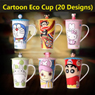 Ceramic Cartoon Eco Cups with Cup Lid Spoon Creative Mug Super Mario Doraemon Minion Shin Chan Totoro Hello Kitty Superhero Design Gift
