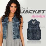 NEW! Branded Express Ladies Denim Vest_Premium Quality_Denim Jeans vest_Denim Jacket_Jaket Wanita_Jacket Wanita_Rompi