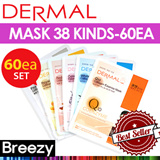 BREEZY ★ 60EA SET! [DERMAL Cosmetic] Dermal Collagen Essential Essential Mask 60EA / 38 kinds / Skin Care / Face Mask / Korean Cosmetics / Korean Beauty / Made in Korea / InsbyN / Premium Mask