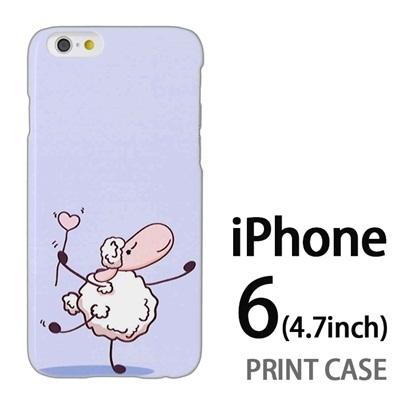 iPhone6 (4.7インチ) 用『0310 ダンシング羊 青』特殊印刷ケース【 iphone6 iphone アイフォン アイフォン6 au docomo softbank Apple ケース プリント カバー スマホケース スマホカバー 】の画像