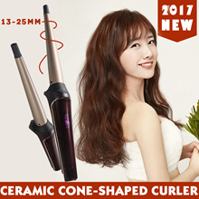 ★2017 new★  ceramic cone-shaped LCD display curlers 13-25mm