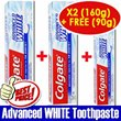 Colgate Advanced WHITE Toothpaste 160gX2 Free 90g Value Pack