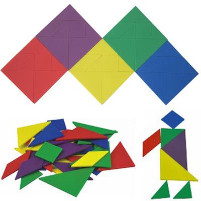 七色花幼教台湾游思乐进口玩具幼儿园diy拼图彩色七巧板20303-ap