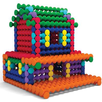 七色花幼教幼儿园益智玩具桌面游戏搭建建构拼插积木竹节棍9000
