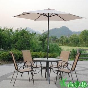 高档户外家具 户外桌椅伞庭院休闲家具咖啡铁艺桌椅组合 5件套