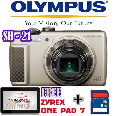 Olympus Camera Digital SH-21 16MP Gold and Red FREE Zyrex tablet onepad 7 inch