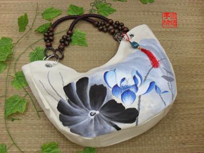 中国风手绘包 水墨荷花 帆布女包 diy定制 斜挎包 布包