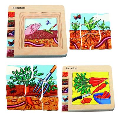 包邮七色花幼教德国贝乐多幼儿玩具木质多层拼图益智胡萝卜礼物