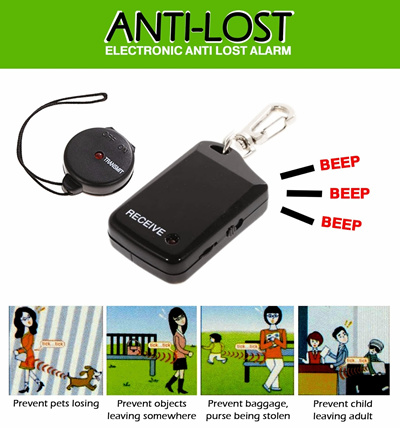 Antilost Alarm FinderPeringatan berupa vibrate dan bunyi alarmKecil dan ringanRadius 120 meter