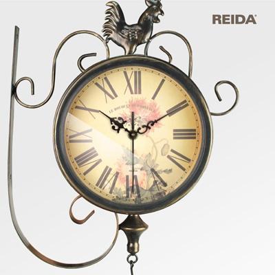 欧式田园铁艺挂钟时尚静音客厅双面钟复古挂表