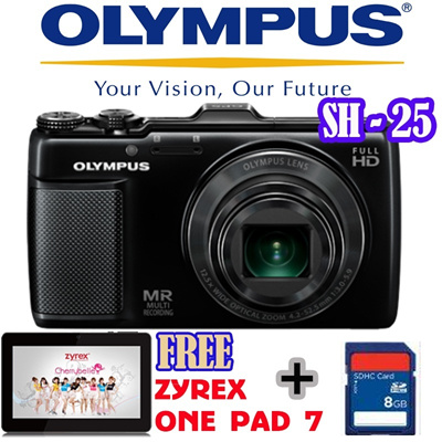 Olympus Camera Digital SH-25 16MP Gold and Red FREE Zyrex tablet onepad 7 inch