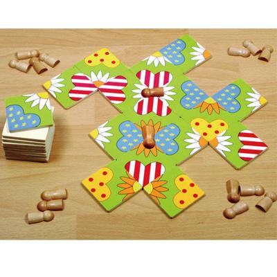 包邮七色花幼教德国贝乐多幼儿拼图木质益智玩具蝴蝶草坪礼物