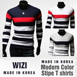 [WIZI] Modern Color Stylish Long Sleeve T-Shirt Collection ★made in korea★V-neck★Hot Sale★Tattoo T-shirt★vintage was★dress★slimming