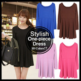 [Best10]Free size★Stylish Womens  Tunic Dresses-15 colors