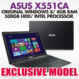 Asus X551CA - Original Windows 8/ 4GB RAM/ 500GB HDD/ Intel Processor Inside