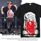 [2014 New Arrival]BIGBANG G-Dragon Similar Black Hoodies/GD Marilyn Monroe T-shirts/Korean Pop Star GD/ Ouendan / Short sleeve