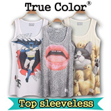 Save extra $1 every $20 spent [Design By Korea]New design Sleeveless Long T-shirtTrue Color Short Unique printing High quality cotton Women T-shirt etc