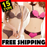 New Korean Sexy Style Girls Padded Underware Comfortable Panties Cute Leopard Mesh Lace Cotton Color Dotted Superman non strap Bra Set
