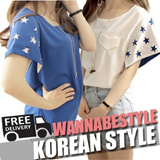 2014 FREE SHIPPING NEW ARRIVALS Korean version of the new womens creativestarsleeve shirt short-sleeved chiffon T-shirt
