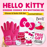 [LAST DAY OFFER $22.90] Hello Kitty Ginseng Essence SPA Whitening Gel Gloves and Socks Gift Set With Free Gift Beely Brand Birthday Gift