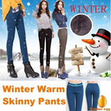 Winter warm skinny pants-Slim Fit Pants with wool&fur lining/ Against cold temperature/ Thicken Deni