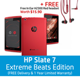 HP Slate 7 Extreme Beats Special Edition - 7 diagonal HD WVA IPS Display | Studio quality sound | 16GB | Andriod 4.4.2 - FREE In Ear H2300 Red Headset Worth $15.90