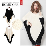 【M18】[Homecore]2014 winter  new  style girls sweater/spliced color and loose/ bat sleeve  and casual /knitted sweater/ shawl cape coat
