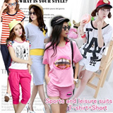 [BUY 2 FREE SHIPPING]2014 HOT SALE/Summer Women Fashion Top+Bottom Set/Leisure Sports Suit/Korean style T-shirt and Shorts/Various design/Size S-XXL