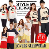 [buy 2 free shipping]2014New Products/Couple Pajamas/Top and bottom Set/Lovers Sleepwear/Short-sleeve Long-sleeve Homewear/Cute Cartoon Design/For Man`Woman