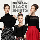 European black lace shirt Formal Blouse Match them with your midi skirts