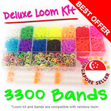 Deluxe Loom Kit 3300 Rainbow Bands Ready Stock Promotion Rubber Bracelet Making Kit Charms Beads Metal Hook Monstertail Accessories Band Kids Education Toys 2014 Latest Singapore Seller Fast Delivery
