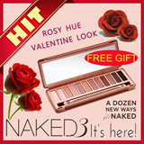 FREE GIFT!!]NAKED3[THEME: ROSEY_GOLD] EYESHADOW PALETTE - 12 NATURAL ROSEY_GOLD SHADE OF COLORS-