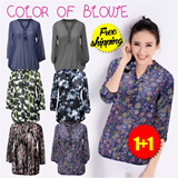 ★Buy1 Get1 Free★ New Arrivals 2015 S-XL SIZE The Newest European Style Loose Fit Chiffon Plus Size Blouse/women fashion Tops