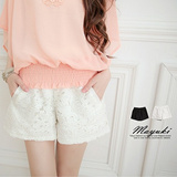 MAYUKI - Two-Tone Embroidered Lace Shorts-4001300