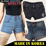 [MLstory]Woman Cotton/Denim Shorts/High Waist/Cut-Off/Low Rise Denim Shorts