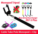 Z07-5 Plus Z07-5S no need bluetooth Extendable Selfie Stick Extendable Monopod Tripod With Button Handheld Wired Cable Take Pole for iPhone IOS Android for Christmas gift