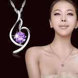 【M18】New arrivals women necklace of  925 sterling silver/ purple crystal / high quality and fashionable / all-match and  luxurious / gift for valentine day / for girls