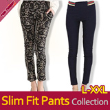 ★2015 S/S New Update Slim Fit Skinny Pants M~XXL★ Unique Waist Band Skinny Pants/Leggings/Check Pattern Pants/