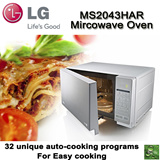 LG MS2043HAR 20 Litre Microwave Oven. 32 unique auto-cooking programs. Easy and effortless cook. I-wave technology provides a rapid and more uniform cooking.