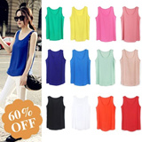 ☆highly recommend☆ 2014 Fashion Womens Spring Summer Colorful  Chiffon  Vest  Sleeveless T Shirt  To