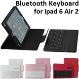 ipad 6 Air 2 Wireless Bluetooth Keyboard Removable Bluetooth Keyboard Leather Case with Stand