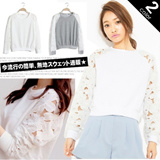[buy 2 free shipping] 2014 Fashion Women Trendy Sweater Crochet Sleeves Top Lace Top Winter Wear Cardigan