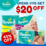 $20 OFF!!! Simply spend more than $110! Pampers Baby Dry Easy Ups Swaddlers Cruisers - World No.1 Diapers! Free and Speedy Delivery! Lowest Price in SG! Maternity Kids