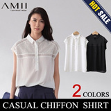 【M18】AMII 2014 new arrival women's Chiffon shirt/loose and lapel/hollowed out and simple short cuff/elegant and graceful/all-match and noble taste